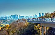 Ukraine, Kyiv, Ukranians Enjoy New Klitschko Pedestrian-Bicycle Bridge, Connects Saint Volodymyr Hill Park With People's Friendship Arch Park, Overlooks The Dnieper River And Its Left Bank