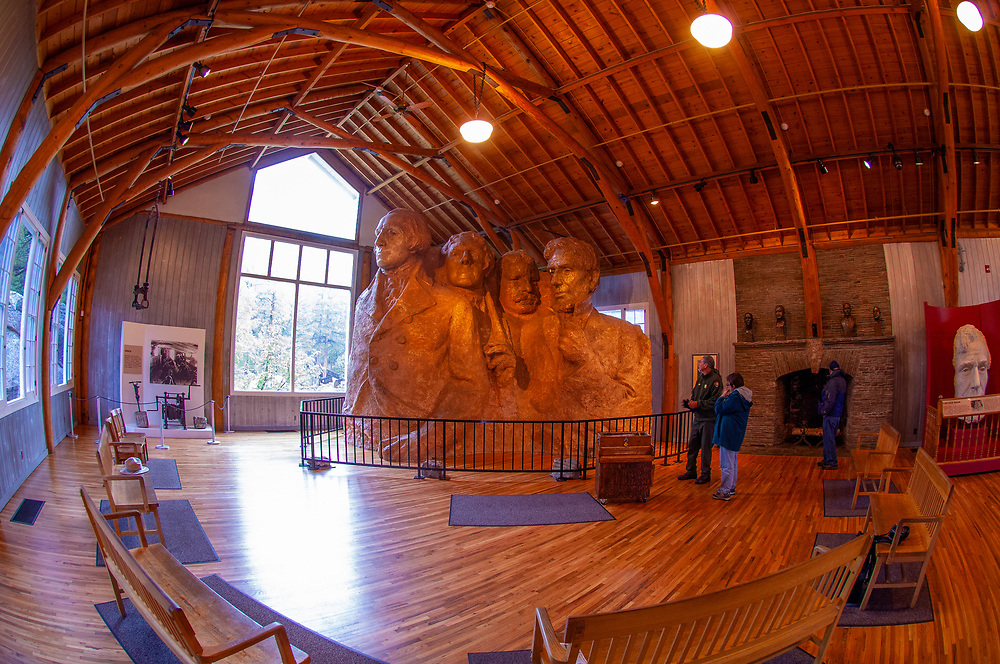 1:12 scale model (one inch equals one foot) of sculpture of presidents in the Sculptor's Studio, created by Gutzon Borglum in 1936 (the last model created during the construction process), Mount Rushmore National Memorial, Black Hills, South Dakota USA