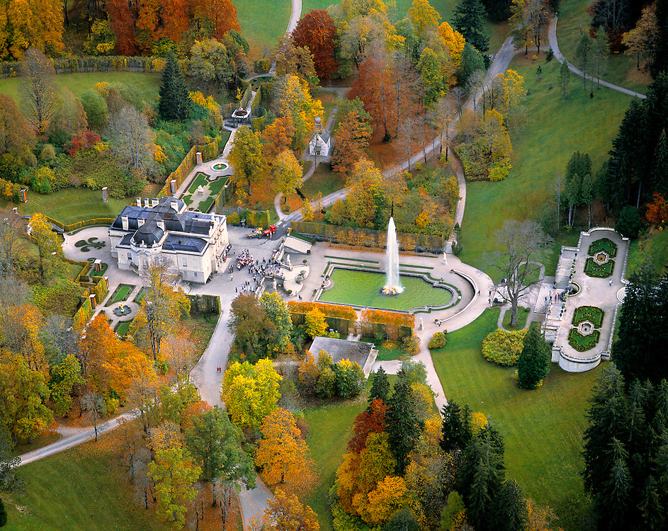 An aerial view of Linderhof Castle highlights its ornate landscape, Bavaria, Germany.