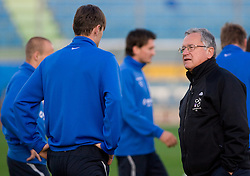 Milivoje Novakovic and Medical doctor of Slovenian National football team Vasja Kruh at practice a day before the last 2010 FIFA Qualifications match between San Marino and Slovenia, on October 13, 2009, in Olimpico Stadium, Serravalle, San Marino.  (Photo by Vid Ponikvar / Sportida)