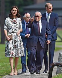 The Duchess of Cambridge with survivor Manfred Goldberg and the Duke of Cambridge with survivor Zigi Shipper during their visit to the former Nazi concentration camp at Stutthof, near Gdansk, on the second day of their three-day tour of Poland.