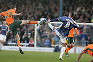 Coca Cola championship,Cardiff city v Plymouth Argyle at Ninian Park in Cardiff on Sunday 28th December 2008. pic by Andrew Orchard, Andrew Orchard sports photography. Craig Cathcart of Plymouth is challenged by Jay Bothroyd of Cardiff City.