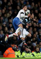 Italy's Mattia De Sciglio (left) and Argentina's Fabricio Bustos (right) battle for the ball