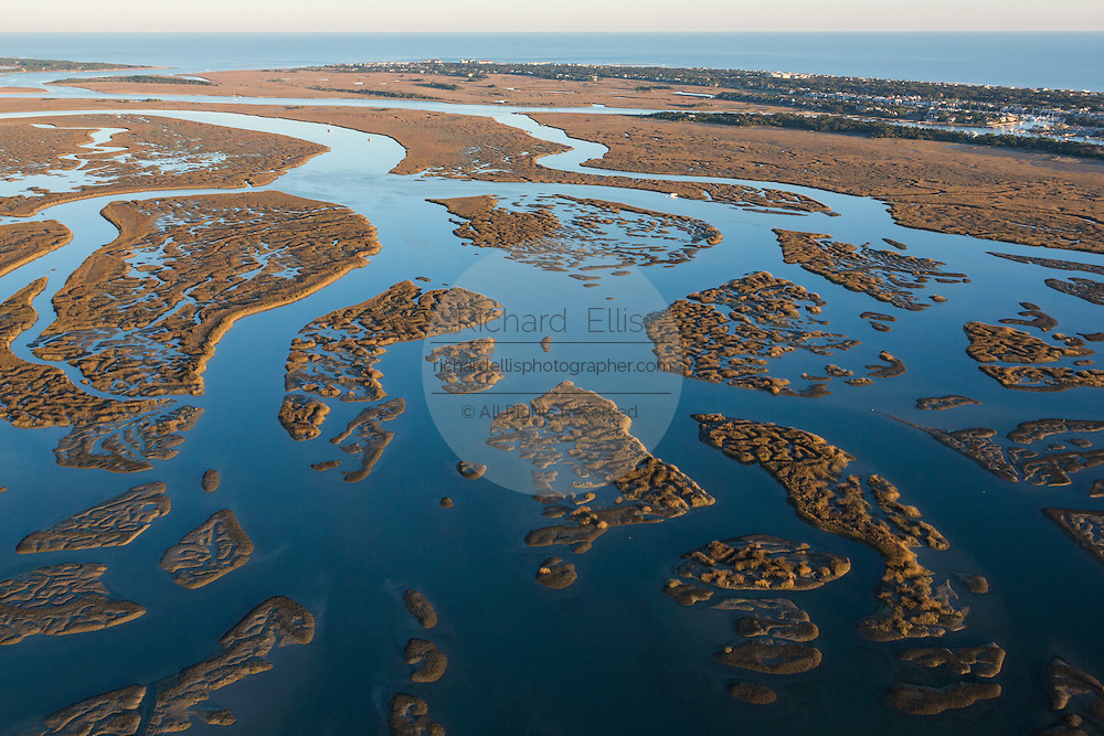 Aerial view of the tidal marsh looking toward the Isle of Palms and Atlantic Ocean in Charleston, SC