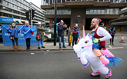 A runner in fancy dress in action during the 2018 London Landmarks Half Marathon. PRESS ASSOCIATION Photo. Picture date: Sunday March 25, 2018. Photo credit should read: John Walton/PA Wire