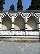 External detail from the Basilica of Santa Maria Novella, a church in Florence, Italy. The first great Basilica in Florence, and the city's principal Dominican church. Designed by Fra Sisto Fiorentino and Fra Ristoro da Campi. Building began around 1246 AD, and was completed in 1360 under the supervision of Friar Lacopop Talenti, but was not consecrated until 1420. The upper part of the facade was completed circa 1470 by Leone Battisa Alberti.