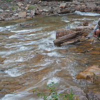 A tributary of the Gallatin River flows below Ouzel Falls, near Big Sky, Montana.