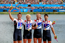 File photo dated 04-08-2012 of Great Britain's Men's Four of (left to right) Pete Reed, Andrew Triggs Hodge, Alex Gregory and Tom James celebrate winning gold