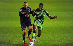 Jordan Bowery of Mansfield Town jostles with Ebou Adams of Forest Green Rovers - Mandatory by-line: Nizaam Jones/JMP - 14/11/2020 - FOOTBALL - innocent New Lawn Stadium - Nailsworth, England - Forest Green Rovers v Mansfield Town - Sky Bet League Two