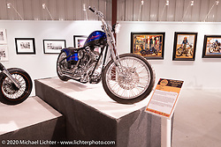 Don Hotop's Auction Special custom Revtech 110 ci in a Daytec frame in the Heavy Mettle - Motorcycles and Art with Moxie exhibition at the Sturgis Buffalo Chip. This is the 2020 iteration of the annual Motorcycles as Art series curated and produced by Michael Lichter. Sturgis, SD, USA. Friday, August 7, 2020. Photography ©2020 Michael Lichter.