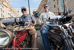 Doug Jones (L) riding his 1914 Indian next to Erik Bahl of Alabama on his 1915 Harley-Davidson Model 11F on the Atlantic City boardwalk for the start of the Motorcycle Cannonball Race of the Century. Stage-1 from Atlantic City, NJ to York, PA. USA. Saturday September 10, 2016. Photography ©2016 Michael Lichter.