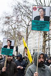 London, UK. 19th January, 2019. Members of the Kurdish community march from Trafalgar Square to Parliament Square in support of jailed Kurdish politician Leyla Güven and her fellow hunger striking prisoners Esat Naci Yıldırım and Kadir Karabak.
