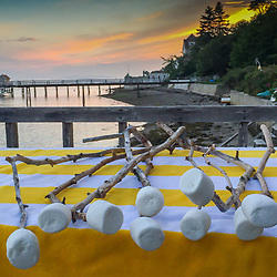 Marshmallows Ready for Toasting on the Boathouse Deck, Castine, Maine, US
