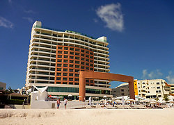 09 Feb 2014. Cancun, Mexico.<br /> The beach Palace resort hotel overlooking the tourist beach at Isla Cancun along the Zona Hotelera on the Carribean Sea. <br /> Photo; Charlie Varley/varleypix.com