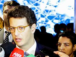 August 26, 2019, SãO Paulo, Brazil: SÃO PAULO, SP - 26.08.2019: SALLES PARTICIPA DA CONVENÇÃO SECOVI - Environment Minister Ricardo Salles spoke briefly to the press, after attending Monday morning (26), the Secovi 2019 Convention, at the headquarters of the entity in the south of São Paulo. (Credit Image: © Eliane Neves/Fotoarena via ZUMA Press)