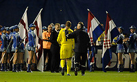 Photo: Richard Lane.<br />Croatia v England. UEFA European Championships 2008 Qualifying. 11/10/2006. <br />England's Paul Robinson is consoled by Ray Clemence on the final whistle.