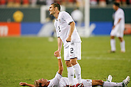 July 18 2009: Heath Pearce of USA shakes the hand of teamate Stuart Holden after the game between USA and Panama. The United States defeated Panama 2-1 in added extra time in a CONCACAF Gold Cup quarter-final match at Lincoln Financial Field in Philadelphia, Pennsylvania.