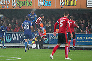 AFC Wimbledon defender Terell Thomas (6) heading the ball during the EFL Sky Bet League 1 match between AFC Wimbledon and Lincoln City at the Cherry Red Records Stadium, Kingston, England on 2 November 2019.