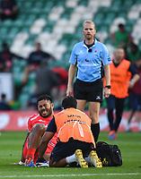 Rugby Union - 2019 / 2020 Gallagher Premiership - Northampton Saints v Sale Sharks - Franklin Gardens<br /> <br /> Sale Sharks' Manu Tuilagi receiving medical attention during the game.<br /> <br /> COLORSPORT/ASHLEY WESTERN