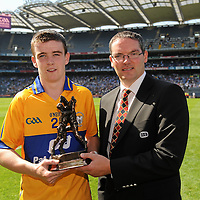 15 August 2010; Clare's Tony Kelly is presented with the Man of the Match by Conal Bonnar, Fleet and Equipment manager ESB, after the game. ESB GAA Hurling All-Ireland Minor Championship Semi-Final, Clare v Dublin, Croke Park, Dublin. Picture credit: Ray McManus / SPORTSFILE *** NO REPRODUCTION FEE ***