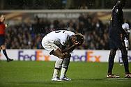Tottenham Hotspur midfielder Joshua Onomah after missing a glorious chance during the Europa League match between Tottenham Hotspur and Monaco at White Hart Lane, London, England on 10 December 2015. Photo by Matthew Redman.