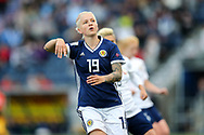 Lana Clelland (#19) of Scotland reacts to missing an opportunity on goal during the FIFA Women's World Cup UEFA Qualifier match between Scotland Women and Belarus Women at Falkirk Stadium, Falkirk, Scotland on 7 June 2018. Picture by Craig Doyle.