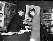 21/12/1956<br /> 12/21/1956<br /> 21 December 1956<br /> <br /> Alderman R Briscoe, Lord Mayor of Dublin, Opening Caltex Child Art Exhibition at Parnell Square