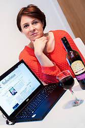 """Mum Lucy Rocca,  has set up Soberistas.com a social network site for female drinkers who worry  that """"wine O'Clock beckons every evening after realising she had a drink problem.<br /> <br /> 2 October 2013<br /> Image © Paul David Drabble<br /> www.pauldaviddrabble.co.uk"""