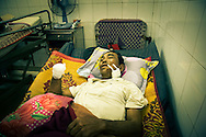 Victim of a UXO accident in Dong Ha hospital, Quang Tri Province, Vietnam, Southeast Asia