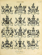 Royal armorial bearings Heraldry is a discipline relating to the design, display and study of armorial bearings (known as armory), as well as related disciplines, such as vexillology, together with the study of ceremony, rank and pedigree. Armory, the best-known branch of heraldry, concerns the design and transmission of the heraldic achievement. The achievement, or armorial bearings usually includes a coat of arms on a shield, helmet and crest, together with any accompanying devices, such as supporters, badges, heraldic banners and mottoes. Copperplate engraving From the Encyclopaedia Londinensis or, Universal dictionary of arts, sciences, and literature; Volume IX;  Edited by Wilkes, John. Published in London in 1811