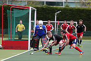 Rhodri Furlong of Wales © is challenged by Niels van Straaten of France (r).  Mens international hockey, Wales v France at the National Hockey Centre, Sophia Gardens in Cardiff, South Wales on Thursday 21st April 2016.<br /> pic by Andrew Orchard, Andrew Orchard sports photography.