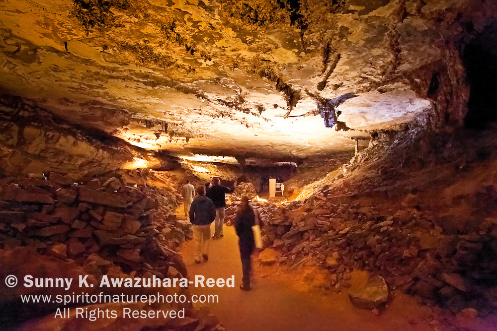 Cave tour through Gothic Avenue, Mammoth Cave National Park, Kentucky.