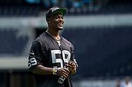 Tahir Whitehead (LB, Oakland Raiders) encourages his team  during the NFL UK Media Day at Tottenham Hotspur Stadium, London, United Kingdom on 3 July 2019.