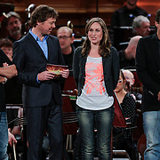 NLD/Haarlem/20121002- Opname AVRO's programma Maestro, presentator Frits Sissing, deelnemers Brecht van Hulten, Wolter Kroes, Joep Sertons