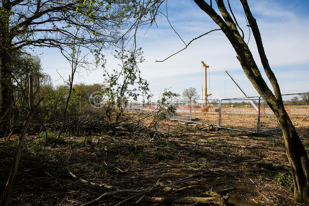 An area almost entirely cleared of trees and vegetation for the HS2 high-speed rail link is viewed from the remainder of Calvert Jubilee Nature Reserve on 26th April 2021 in Calvert, United Kingdom. Calvert has been particularly badly impacted by HS2 infrastructure project work because of its position close to the intersection between HS2 and East West Rail and a large section of Calvert Jubilee Nature Reserve has been destroyed.