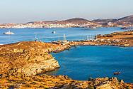 Naousa, Paros, Greece - July 2021: Bay of Naousa at sunset