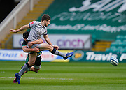 Northampton Saints centre Piers Francis lines up a tackle on Sale Sharks fly-half AJ McGinty during a Gallagher Premiership Round 13 Rugby Union match, Saturday, Mar. 12, 2021, in Northampton, United Kingdom. (Steve Flynn/Image of Sport)