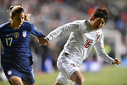 February 27, 2019 - Chester, PA, U.S. - CHESTER, PA - FEBRUARY 27: Japan Midfielder Arisa Matsubara (16) holds back US Forward Tobin Heath (17) near the box in the first half during the She Believes Cup game between Japan and the United States on February 27, 2019 at Talen Energy Stadium in Chester, PA. (Photo by Kyle Ross/Icon Sportswire) (Credit Image: © Kyle Ross/Icon SMI via ZUMA Press)