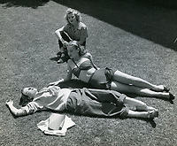 1950 Ladies sunbathe at the Hollywood Studio Club on Lodi Pl.