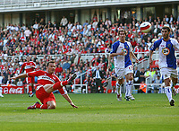 Photo: Andrew Unwin.<br />Middlesbrough v Blackburn Rovers. The Barclays Premiership. 23/09/2006.<br />Middlesbrough's Mark Viduka (L) squanders a good chance to equalise.