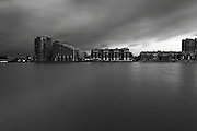 Long exposure on the River Thames looking south from Chelsea Harbour, London, UK