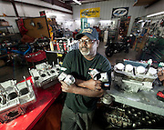 Motorcycle drag racer and engine builder Tommy Bolton at his race shop in south Oklahoma City.  Tommy holds many national records and was the first black drag racer to go over 200 mph in the quarter mile.