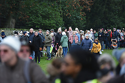 Crowds gather as the await the arrival of the Royals attending the Christmas Day morning church service at St Mary Magdalene Church in Sandringham, Norfolk.