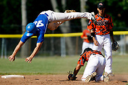 Kevin Bartram   Staff<br /> Vinal's Ryan Fazzino dives over Goodwin's Jorge Rivera in an unsuccessful attempt to avoid a tag while stealing second during a First round of Class M State Tournament game between Goodwin Tech and Vinal Tech on Monday at Goodwin Tech in New Britain.