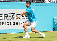 Tennis - 2019 Queen's Club Fever-Tree Championships - Day One, Monday<br /> <br /> Men's Singles, First Round: Fernando VERDASCO (ESP) vs Daniil MEDVEDEV (RUS) [4<br /> <br /> Fernando Verdasco (ESP) prepares to strike the return on Centre Court.<br />  <br /> COLORSPORT/DANIEL BEARHAM