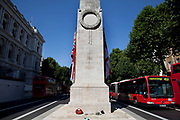 "The Cenotaph on Whitehall, central London. This memorial to those who gave their lives in World Wars I and II is the focus for England's remeberabce of those servicemen and women who died. The epitaph reads ""The Glorious Dead""."