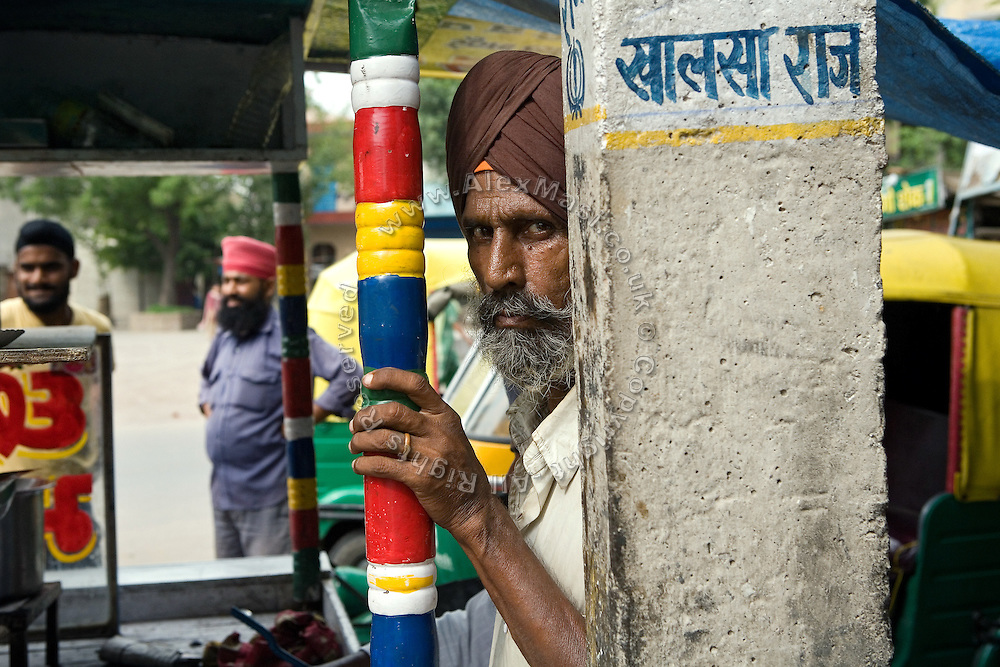 A Sikh man in portrayed at a tea shop near Tilak Vihar, also known as the 'Widows' Colony', in New Delhi, India. Many of the women living here have become widowed during the anti-Sikh riots erupted in New Delhi in 1984 in the light of Indira Gandhi's assassination by her Sikh bodyguards.