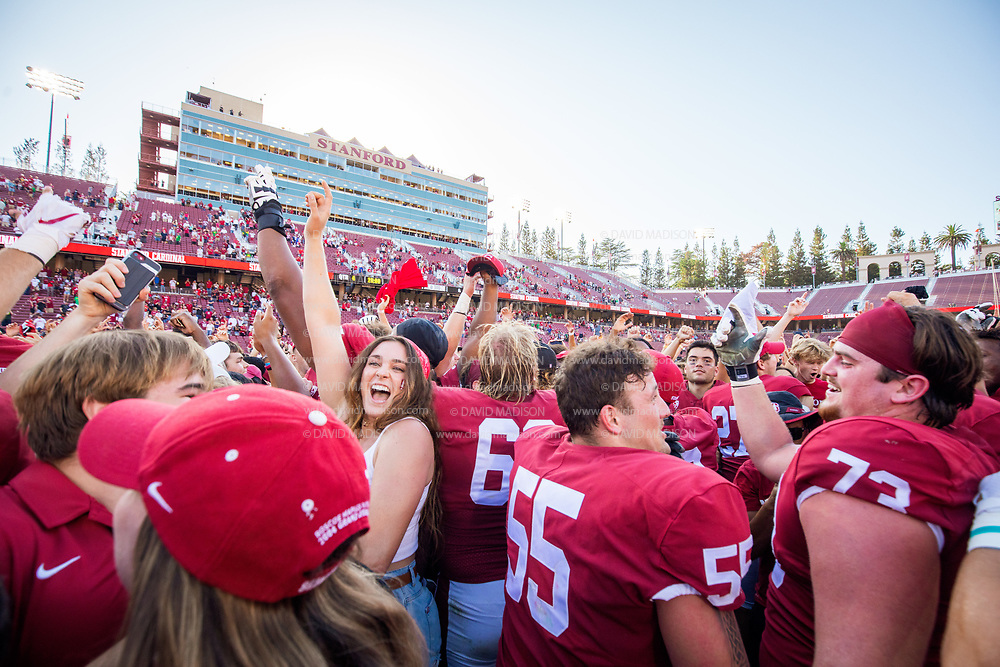 PALO ALTO, CA - OCTOBER 2:  Stanford Cardinal football players including Drake Metcalf #55 and Jake Hornibrook #73 and fans celebrate on the field after the Stanford's 31-24 overtime victory over the Oregon Ducks in a Pac-12 college football game on October 2, 2021 at Stanford Stadium in Palo Alto, California.  (Photo by David Madison/Getty Images)