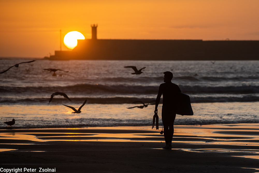 A surf rider is waiting for the right waves on the shore of the Atlantic Ocean during sunset in Porto, Portugal