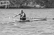 Kingston on Thames, United Kingdom. C.D. RICHES, Men's Single Scull  M1X.   The final Round of the Leyland Daf Sprint series, at Kingston RC on the River Thames, Surrey, England, <br /> <br /> Saturday 04.05.1987<br /> <br /> [Mandatory Credit; Peter Spurrier/Intersport-images] 1987 Leyland Daf Sprints, Kingston. UK